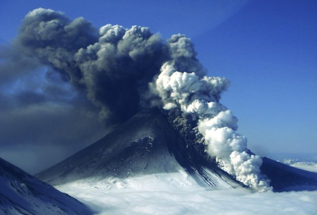 In this photo provided by the Alaskan Volcano Observatory, the Pavlof volcano erupts Thursday, May 16, 2013, as seen from the air from the southwest in Cold Bay, Alaska. (AP Photo/Alaskan Volcano Observatory, Theo Chesley)