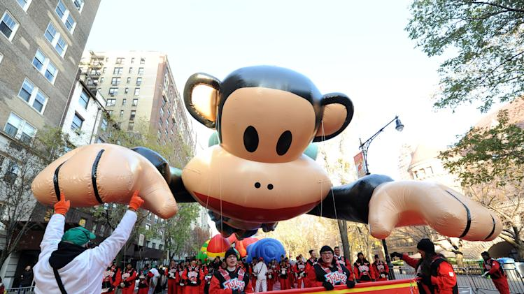 IMAGE DISTRIBUTED FOR SABAN BRANDS - Paul Frank's Julius balloon gets ready for the Macy's Thanksgiving Day Parade, Thursday Nov. 22, 2012, in New York.  (Photo by Diane Bondareff/Invision for Saban Bramds/AP Images)
