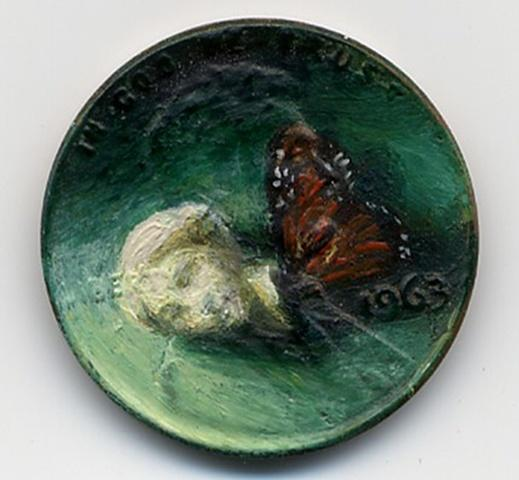 12 Miniature Paintings on Pennies