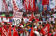 "<p>               Demonstrators shows a banner reading ""no bread, no peace, as a protest against austerity measures announced by the Spanish government in Madrid, Spain, on Thursday July 19, 2012.  Concerns over Spain's attempts to restore market confidence in its economy resurfaced Thursday after a bond auction went poorly and its borrowing costs edged higher,  even as the country's Parliament passed the latest round of harsh austerity measures designed to cut its bloated deficit.  (AP Photo/Andres Kudacki)"