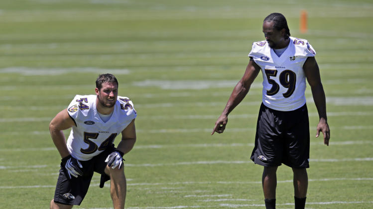 Baltimore Ravens linebackers Austin Spitler, left, and Arthur Brown run through a drill together after a training camp practice, Friday, July 25, 2014, at the team's practice facility in Owings Mills, Md. (AP Photo)