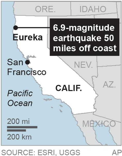 Map locates Eureka, Calif.; 1c x 2 inches; 46.5 mm x 50 mm;