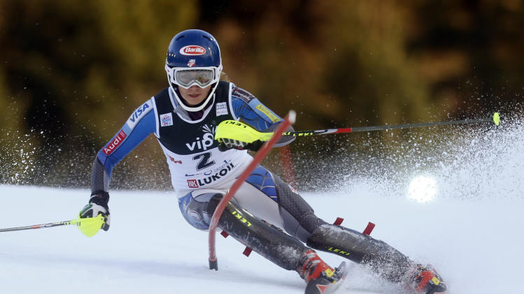 Mikaela Shiffrin, of the United States, clears a gate during the first run of an alpine ski, women's World Cup slalom, in Zagreb, Croatia, Friday, Jan. 4, 2013. (AP Photo/Darko Bandic)