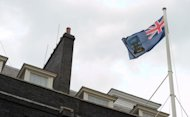 The flag of the Falkland Islands flies over Number 10 Downing Street in central London on June 14. President Cristina Kirchner demanded that Britain start talks with Argentina over the Falkland Islands in a UN speech on the 30th anniversary of the end of their war over the disputed territory