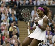 Serena Williams of the United States reacts winning against Petra Kvitova of the Czech Republic during a quarterfinals match at the All England Lawn Tennis Championships at Wimbledon, England, Tuesday, July 3, 2012. (AP Photo/Anja Niedringhaus)