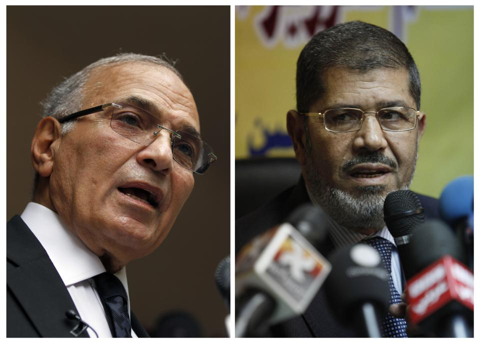 FILE - COMBO - This combination of two photos shows Egyptian presidential candidates, from left, Ahmed Shafiq, and Mohammed Morsi.  The Muslim Brotherhood has declared that its candidate, Mohammed Morsi, won Egypt's presidential election, early Monday, June 18, 2012. (AP Photo/Khalil Hamra; Nasser Nasser, File)