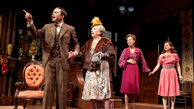 """This undated theater image released by Boneau/Bryan-Brown shows, from left, Jim Parsons, Angela Paton, Jessica Hecht and Tracee Chimo in a scene from """"Harvey,"""" in New York. (AP Photo/Boneau/Bryan-Brown, Joan Marcus)"""