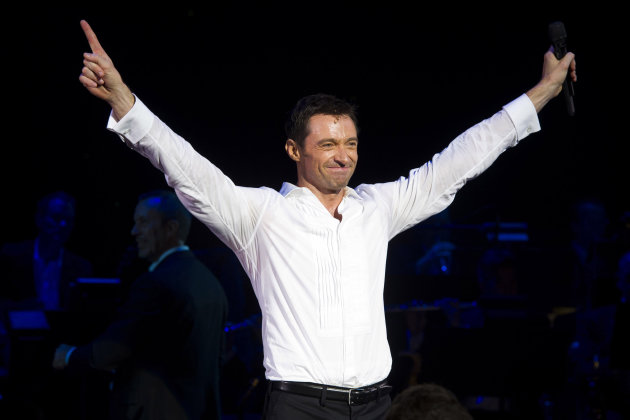 "FILE- In this Thursday, Nov. 10, 2011 file photo, Hugh Jackman appears onstage at the curtain call for the opening night performance of ""Hugh Jackman, Back on Broadway"", in New York. Jackman has left a lot of broken hearts and records on Broadway. (AP Photo/Charles Sykes, File)"