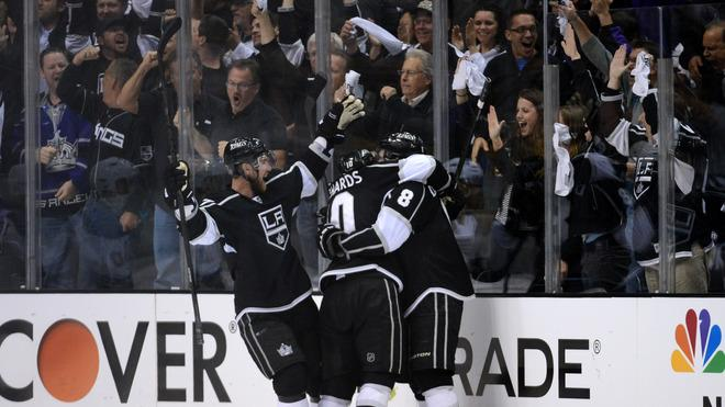 (R) Drew Doughty #8 Of The Los Angeles Kings Celebrates His Third Period Goal With Teammates Jeff Carter #77 And Mike Getty Images