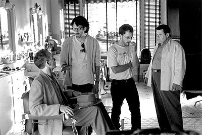 Billy Bob Thornton , Joel Coen , Ethan Coen and Michael Badalucco on the set of USA Films' The Man Who Wasn't There