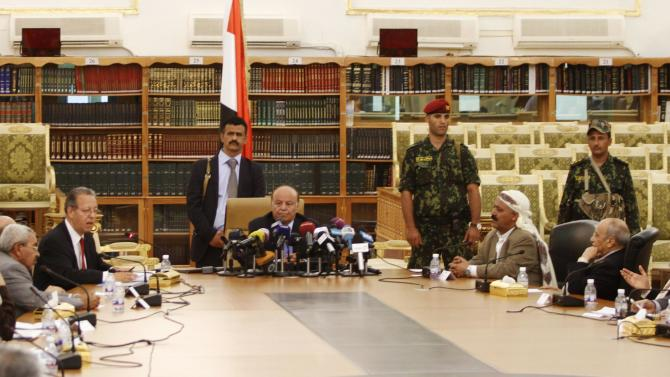 UN special envoy to Yemen Benomar speaks at the signing of an agreement in Sanaa