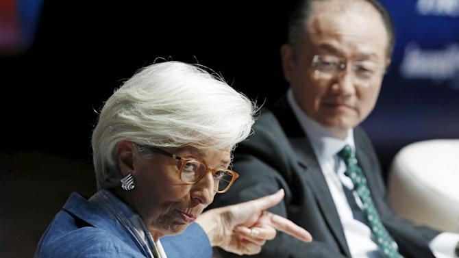 IMF Managing Director Lagarde and World Bank President Kim participate in an IMF-World Bank discussion titled 'Conversation on Climate Change' during the 2015 Annual Meetings of the IMF and the World Bank in Lima