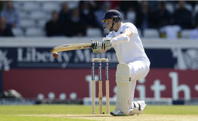 England's Root hits out during the second test cricket match against New Zealand at Headingley cricket ground in Leeds