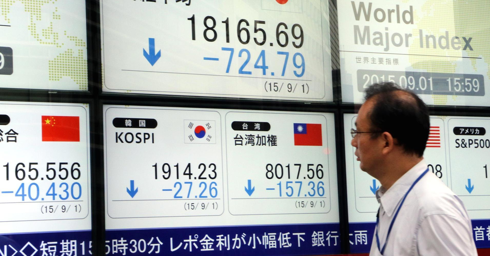 Asian shares mostly recover with China markets closed