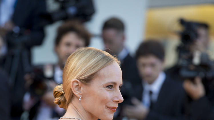 Actress Emy Ryan arrives for the screening of the movie Birdman opening the 71st edition of the Venice Film Festival in Venice, Italy, Wednesday, Aug. 27, 2014. (AP Photo/Andrew Medichini)