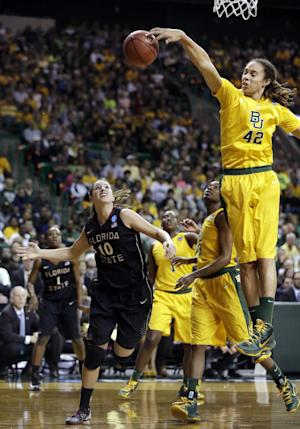 Baylor center Brittney Griner (42) blocks a shot attempt by Florida State's Leonor Rodriguez (10) in the first half of a second-round game in the women's NCAA college basketball tournament, Tuesday, March 26, 2013, in Waco, Texas. (AP Photo/Tony Gutierrez)