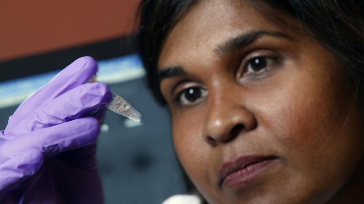 FILE - In this undated file image provided by Johns Hopkins Medicine in 2005 Dr. Deborah Persaud, a pediatric HIV expert at Johns Hopkins' Children's Center in Baltimore, holds a vial. On Thursday, July 10, 2014, doctors and officials at the National Institutes of Health said new tests last week showed that a Mississippi girl born with the AIDS virus is no longer in remission. The girl is now back on treatment and is responding well, doctors said. (AP Photo/Johns Hopkins Medicine, File)