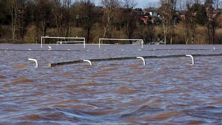 Floodwater covers Pitchcroft Race Course in Worcester on February 13, 2014