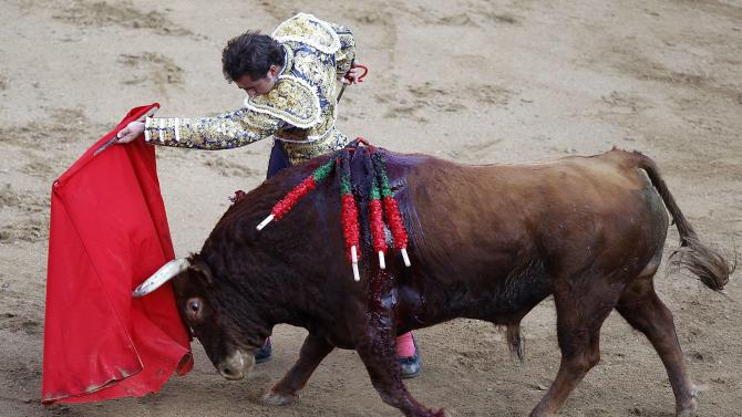 Spanish bullfighter David Fandila 'El Fandi' performs a pass during a bullfighting festival at the Canaveralejo bullring in Cali