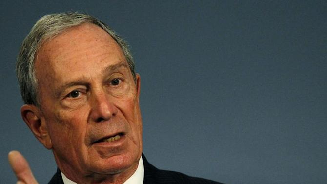 New York City mayor Michael Bloomberg speaks during a news conference at City Hall in New York