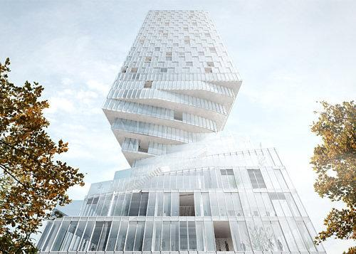 Rendering Reveals : 'Spatially-Flexible' Hourglass Tower to Descend on Vienna