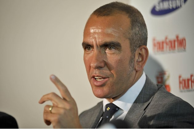 New Swindon Town soccer team manager Paolo Di Canio  speaks during the press conference at the County Ground, Swindon England Monday May 23, 2011. Swindon were relegated from the English Division One