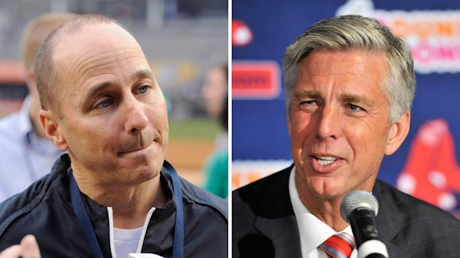 FILE - At left, in an April 11, 2014, file photo, New York Yankees general manager Brian Cashman speaks to the media before a baseball game against the Boston Red Sox, at Yankee Stadium in New York. At right, in an Aug. 19, 2015, file photo, Red Sox President of Baseball Operations Dave Dombrowski speaks during a news conference at Fenway Park in Boston. Being rivals doesn't stop Yankees general manager Brian Cashman and Red Sox president of baseball operations Dave Dombrowski from a joint appearance at a fundraiser. (AP Photo/File)