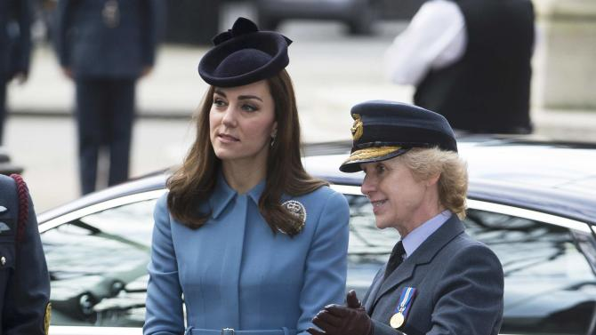 Britain's Catherine, Duchess of Cambridge is greeted by Air Commodore Dawn McCafferty she arrives at an event to mark the 75th anniversary of the RAF Air Cadets, in London
