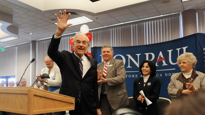 Republican presidential candidate Rep. Ron Paul, R-Texas, waves to a crowd of supporters after making an address on Tuesday, March 6, 2012 in Nampa, Idaho. (AP Photo/Idaho Press-Tribune, Charlie Litchfield) MANDATORY CREDIT