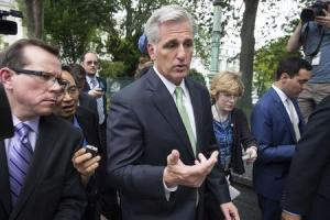 Newly elected House Majority Leader McCarthy speaks with reporters as he walks to the Capitol after his election