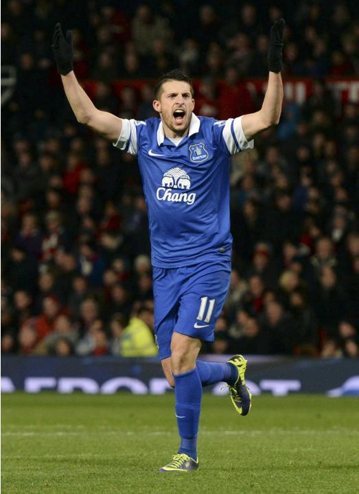 Everton's Mirallas reacts during their English Premier League soccer match against Manchester United at Old Trafford in Manchester