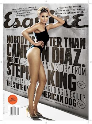 "This magazine cover image released by Esquire shows actress Cameron Diaz on the August issue of the men's magazine, on newsstands on July 18, 2014, the same day Diaz's new move, ""Sex Tape,"" hits theaters. (AP Photo/Esquire)"