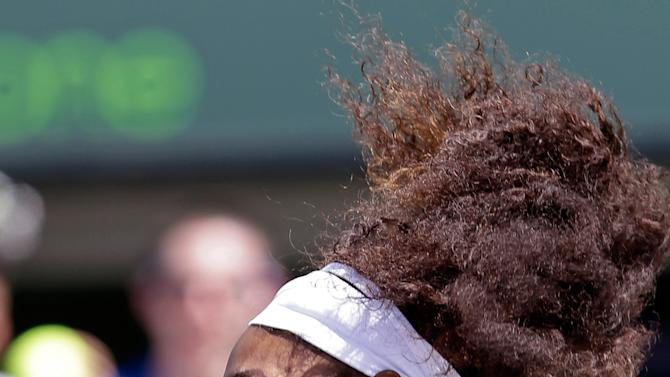 Serena Williams, of the United States, celebrates her 6-3, 7-6 (5) win against Li Na, of China, in the quarterfinals of the Sony Open tennis tournament in Key Biscayne, Fla.,  Tuesday, March 26, 2013. (AP Photo/Alan Diaz)