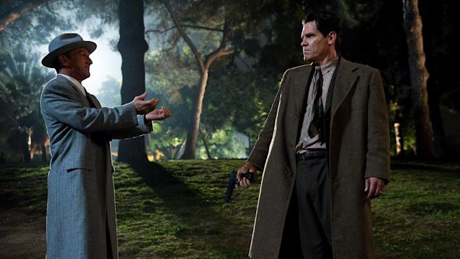 "This film image released by Warner Bros. Pictures shows Sean Penn, left, as Mickey Cohen and Josh Brolin, as Sgt. John O'Mara in ""Gangster Squad."" (AP Photo/Warner Bros. Pictures, Wilson Webb)"