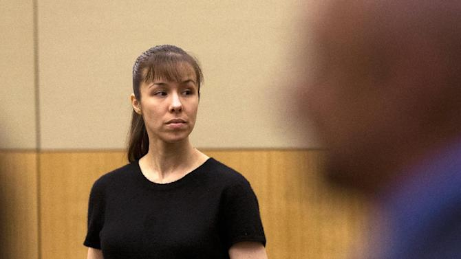 Jodi Arias stands as the jury enters the courtroom on Wednesday, May 22, 2013 during the penalty phase of her murder trial at Maricopa County Superior Court in Phoenix. The jury deciding whether Arias should be sentenced to life in prison or death resumes deliberations Thursday, a day after reaching an impasse and being told to keep trying.  (AP Photo/The Arizona Republic, Rob Schumacher, Pool)