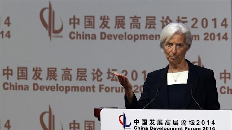 Christine Lagarde makes a speech during the China Development Forum in Beijing