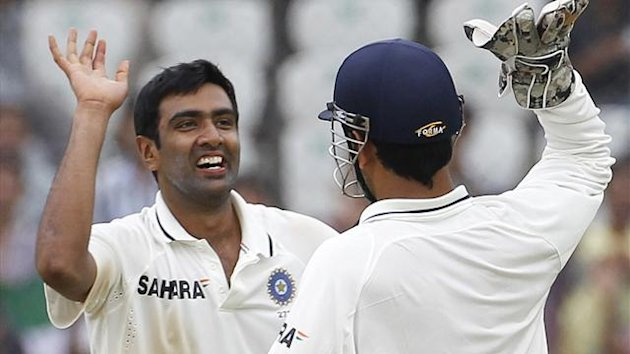 India's Ravichandran Ashwin (L) celebrates with captain Mahendra Singh Dhoni (Reuters)