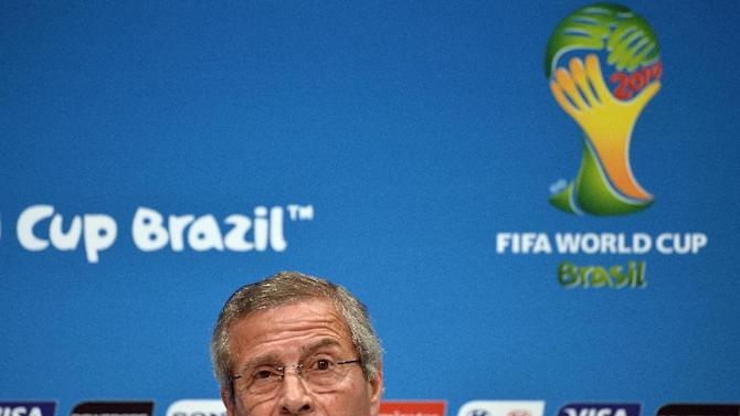 Uruguay's coach Oscar Tabarez speaks during a press conference at the Maracana stadium in Rio de Janeiro on June 27, 2014