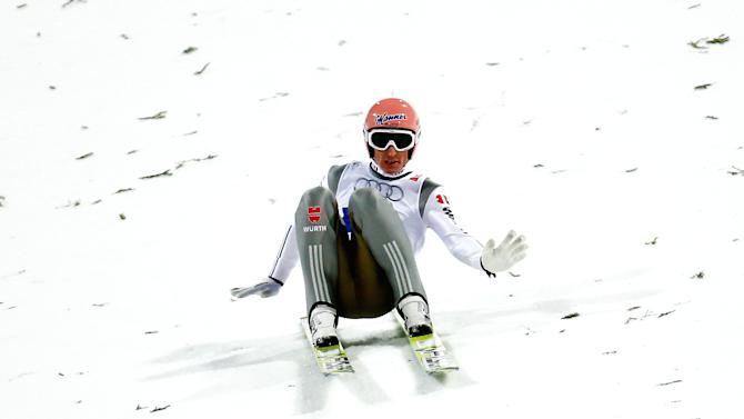 Freund of Germany lands his jump in the men's large hill team ski jumping final at the Nordic World Ski Championships in Falun