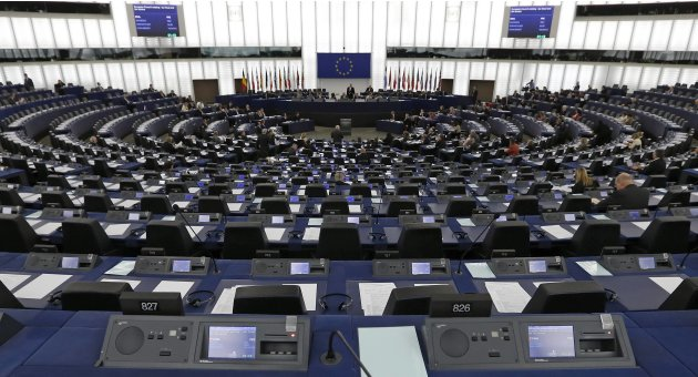 The plenary room of the European Parliament is seen during a debate on tax fraud, tax evasion and tax havens, in Strasbourg