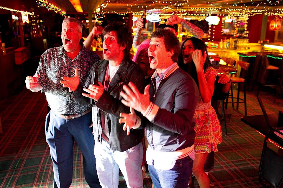 "This film image released by Columbia Pictures shows, from left, Rex Ryan, Adam Sandler, Andy Samberg and Ciara in a scene from ""That's My Boy."" (AP Photo/Columbia Pictures - Sony, Tracy Bennett)"