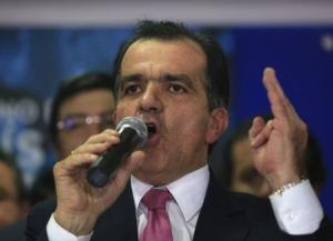 Zuluaga speaks to supporters during an event in Bogota