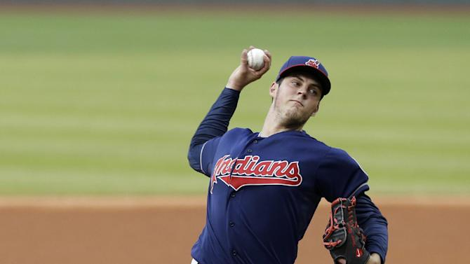 Bauer tames Tigers as Indians win 6-2