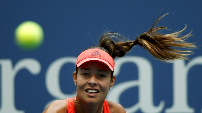 Ivanovic of Serbia serves to Cibulkova of Slovakia during their match at the U.S. Open Championships tennis tournament in New York