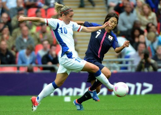 Japan's forward Kozue Ando (R) vies for the ball with France's Camille Abilly