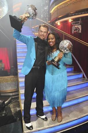 Derek Hough and Amber Riley hold their mirrorballs after winning Season 17 of 'Dancing with the Stars,' November 26, 2013 -- ABC