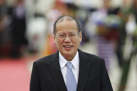 President Benigno Aquino of the Philippines arrives at Naypyitaw international airport to attend the 24th ASEAN Summit