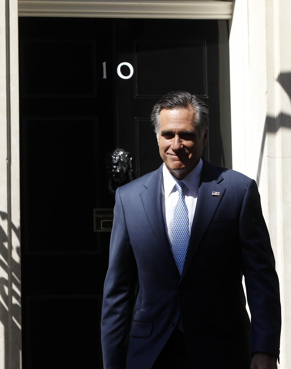 Republican presidential candidate, former Massachusetts Gov. Mitt Romney walks out of 10 Downing Street after meeting with British Prime Minister David Cameron in London, Thursday, July 26, 2012. (AP Photo/Charles Dharapak)