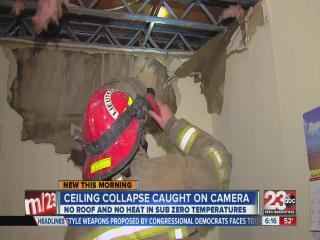 Ceiling collapse caught on camera