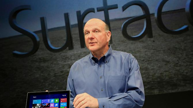 COMMERCIAL IMAGE - In this photograph taken by AP Images for Microsoft, Steve Ballmer, Microsoft Chief Executive Officer, reveals Surface, a new family of PCs, for Windows, Monday, June 18, 2012, in Los Angeles. (Rene Macura/AP Images for Mircrosoft)